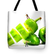 Chopping Green Peppers Little People Big Worlds Tote Bag