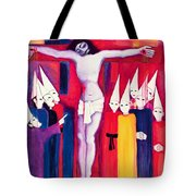 Christ And The Politicians Tote Bag by Laila Shawa