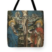 Christ On The Cross With Mary And Saint John Tote Bag by German School