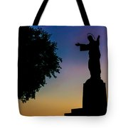 Christ Welcomes Darkness At Sunset Tote Bag
