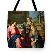 Christ With Mary And Martha Tote Bag