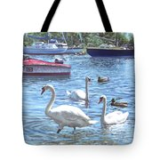 Christchurch Harbour Swans And Boats Tote Bag by Martin Davey