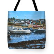 Christchurch Hengistbury Head Beach With Boats Tote Bag