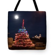 Christmas At Maines Nubble Lighthouse Tote Bag