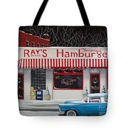 Christmas At Ray's Diner Tote Bag by Catherine Holman
