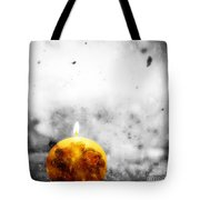 Christmas Ball Candle Lights On Winter Background Tote Bag