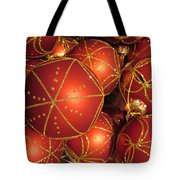 Christmas Balls In Red And Gold Tote Bag