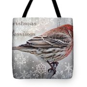 Christmas Blessings Finch Greeting Card Tote Bag