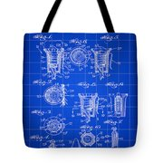 Christmas Bulb Socket Patent 1936 - Blue Tote Bag
