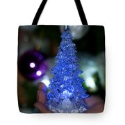 A Christmas Crystal Tree In Blue Tote Bag