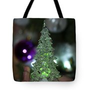 A Christmas Crystal Tree In Green  Tote Bag