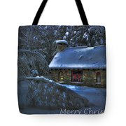 Christmas Card Moonlight On Stone House Tote Bag