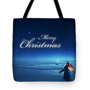 Christmas Card - Penguin Blue Tote Bag