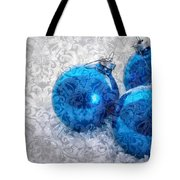 Christmas Card With Vintage Blue Ornaments Tote Bag
