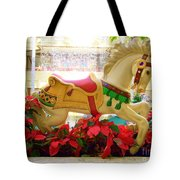 Christmas Carousel Horse With Poinsettias Tote Bag
