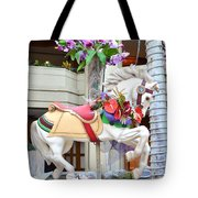 Christmas Carousel White Horse Tote Bag
