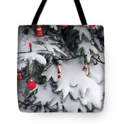 Christmas Decorations On Snowy Tree Tote Bag