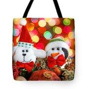 Christmas Dog And Penguin Tote Bag