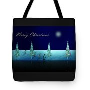 Christmas Eve Walk Of The Penguins  Tote Bag