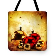 Christmas Glass Balls On Winter Gold Background Tote Bag