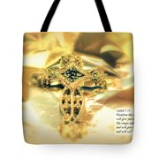 Christmas Greeting Card - The Cross And Bible Quote Tote Bag