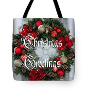 Christmas Greetings Door Wreath Tote Bag