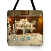 Christmas Holiday Dinner Table Decoration Blurred Tote Bag