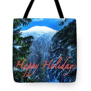 Christmas Holidays Scenic Snow Covered Mountains Looking Through The Trees  Tote Bag
