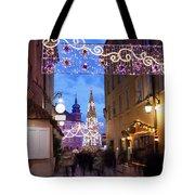 Christmas Illumination On Piwna Street In Warsaw Tote Bag
