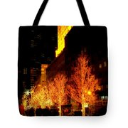 Christmas In New York - Trees And Star Tote Bag