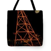 Christmas Moon Over Butte Headframe Tote Bag