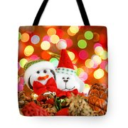 Christmas Penguin And Puppy Tote Bag