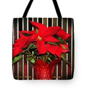 Christmas Red Poinsettia Tote Bag