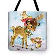 Christmas Reindeer And Rabbit Tote Bag