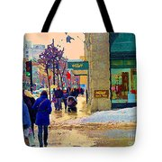 Christmas Shoppers Ogilvys Enchanted Village Window Display A Montreal Xmas Tradition Carole Spandau Tote Bag