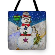 Christmas Snowman With Gifts Of Love Tote Bag