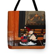 Christmas - Snowmen Collection- Fireplace Tote Bag
