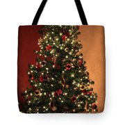 Red And Gold Christmas Tree Without Caption Tote Bag