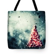 Christmas Tree Glowing On Winter Vintage Background Tote Bag