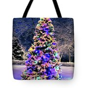 Christmas Tree In Snow Tote Bag by Elena Elisseeva