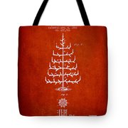 Christmas Tree Patent From 1882 - Red Tote Bag