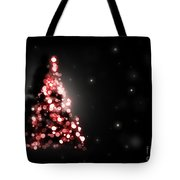 Christmas Tree Shining On Black Background Tote Bag