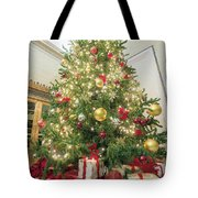 Christmas Tree  With Presents Tall Perspective Tote Bag
