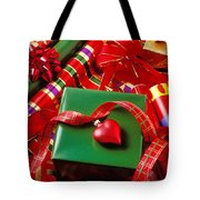 Christmas Wrap With Heart Ornament Tote Bag