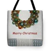 Christmas Wreath And Vintage Bulbs Tote Bag