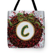 Christmas Wreath Initial C Tote Bag