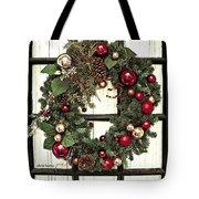 Christmas Wreath On Black Door Tote Bag