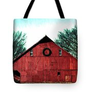 Christmas Wreath On Red Barn Tote Bag