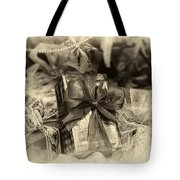 Christmasgift Under The Tree In Sepia Tote Bag