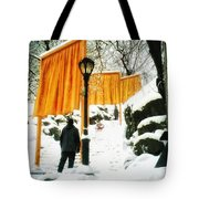 Christo - The Gates - Project For Central Park In Snow Tote Bag
